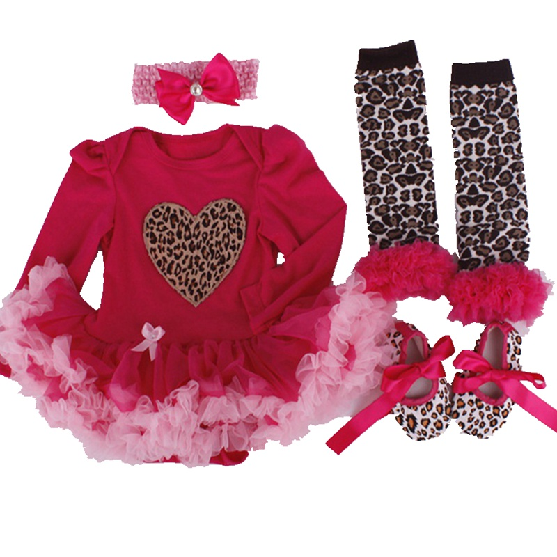 Fashion Heart Baby Tutu Romper Headband Set Leopard Lace Party Dress Girl Valentine  Outfits Vestidos Menina Toddler Girl Clothes In Clothing Sets From ...