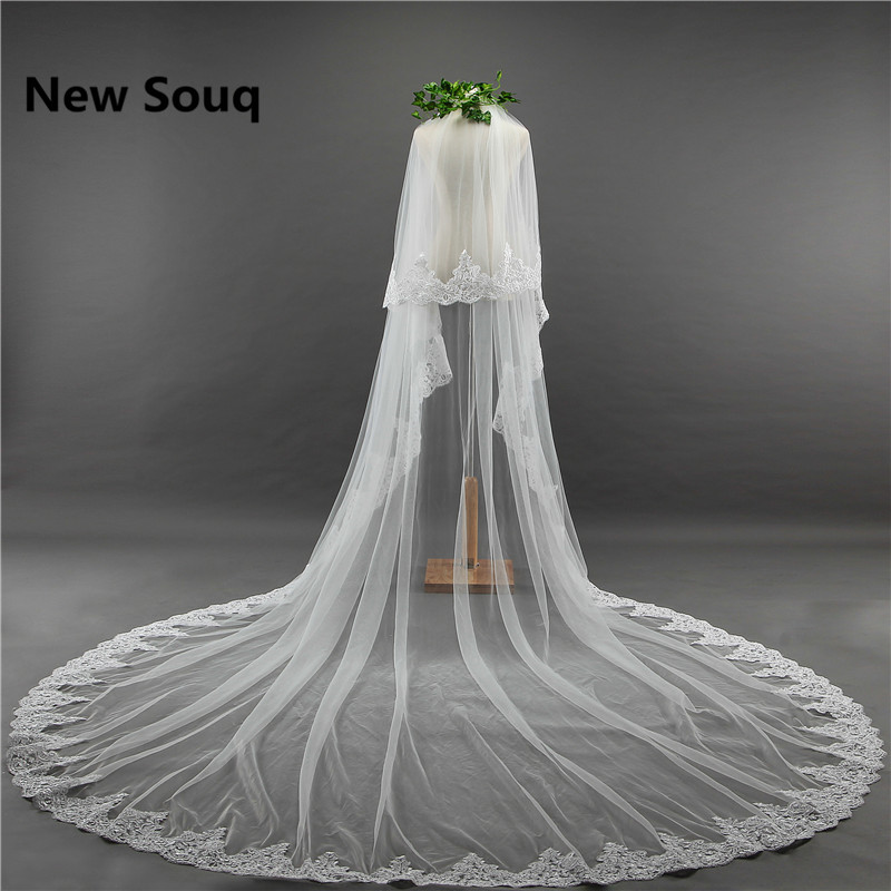 3 Meters Two Layers Tulle Bridal Veils Wedding Accessories In Stock Long Lace Appliques Edged Wedding Veil with Comb