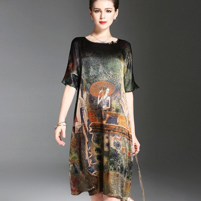 2020 новое летнее высококачественное шелковое платье с принтом, винтажное элегантное платье большого размера с О образным вырезом для женщин, aa542|Платья|   | АлиЭкспресс
