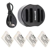 4-pack li-ion en-el5 baterías de las cámaras digitales en el5 cargador de batería dual usb para nikon coolpix p90 p500 p510 p520