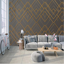 Three-dimensional golden geometric lines frame metal mural background wall