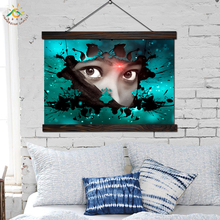 Fantasy Paints Face  Vintage Posters and Prints Scroll Painting Canvas Art Wall Pictures Frame Home Decoration