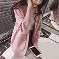 Rosa Borgoña Gris 3 opciones de los colores muchachas del Resorte largo loose knit cardigan sweater coat bolsillo grande de gran tamaño Suéteres delgados