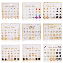 Women Trendy Stud Earrings Set With Card 12 Pairs/set Transparent Zircon Balls Love Flowers Piercing Jewelry