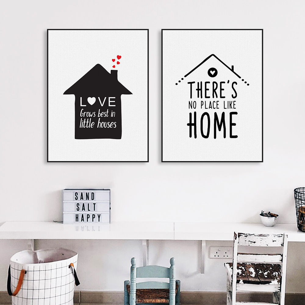 Black white nordic minimalist houses love quotes a4 canvas for Minimalist house items