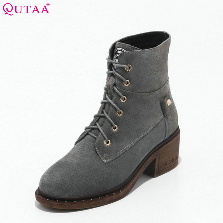 QUTAA 2018 Women Ankle Boots Fashion Lace Up Round Toe Casual Shoes Square High Heel Cow Suede Women Boots Size  33-43 booties combat lace up flat suede round toe fall military front casual ankle boots autumn work women shoes gray low heel 2017