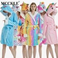 MCCKLE Winter Women Flannel Bath Robe Cartoon Unicorn Hooded Bathrobe Sleepwear Women Thick Warm Fleece Pajama Robe Dropshipping 2