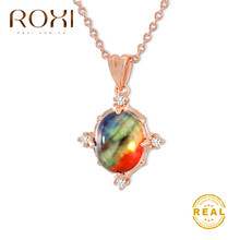 ROXI Multicolor Natural Stone Pendant Necklace Women Rainbow Choker Necklace 2019 Fashion Statement Necklace Jewelry Boho Kolye(China)