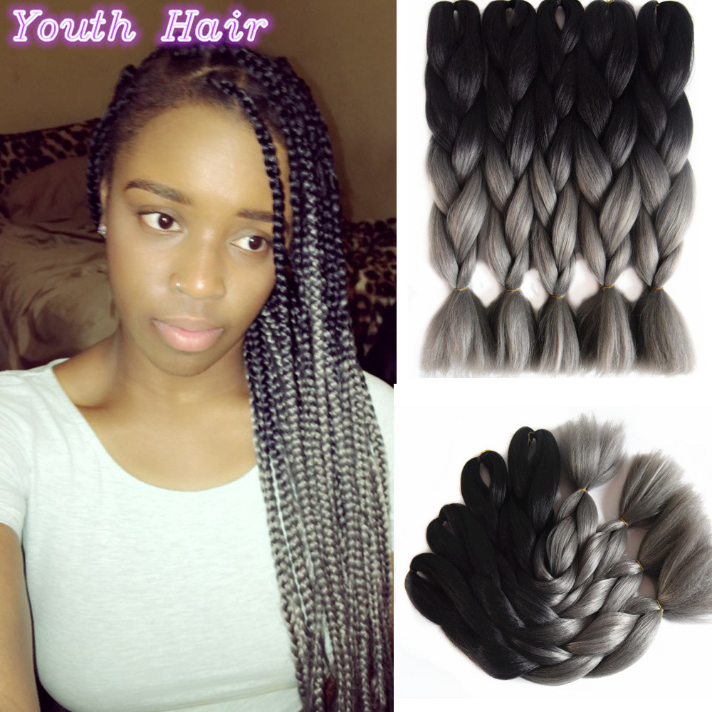 Synthetic Ombre Kanekalon Braiding Hair Black Dark Grey Braiding