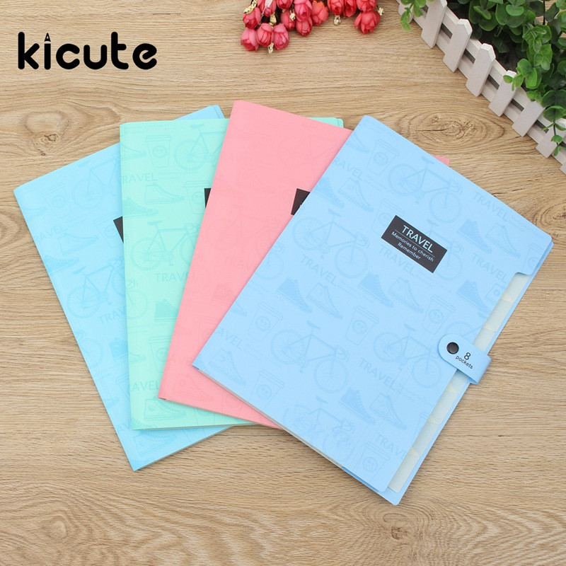 Kicute Affordable Waterproof A4 Paper File Folder Bag Accordion Style Design Document Rectangle Office School Color Random canvas men handbag a4 file folder document bag business briefcase paper storage organizer bag stationery school student gift