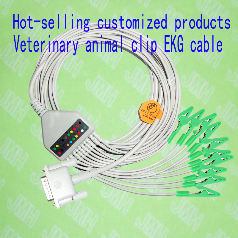 Compatible with Philips(HP) M1772A,M3703C, M2462A EKG 10 lead ECG cable and new style veterinary clip EKG electrode leadwires new 10 lead patient ecg ekg cable for all schiller cardiovit machines
