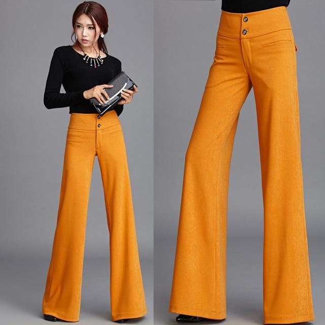 491ab6eadb5a9 2016 nueva otoño invierno formal mujeres orange pantalones anchos de la  pierna