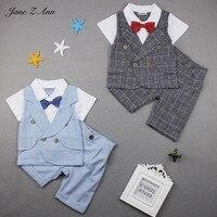 ג 'יין Z אן שמלת יום הולדת תינוק ילד עניבת פרפר משובץ 2 צבעים למעלה + מכנסיים סטי בגדי נערי קיץ מסיבת בגדי חתונה