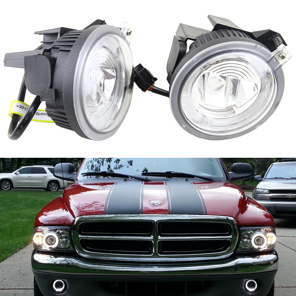 Pair of Fog Lights Lamps 1:1 Replacement for Dodge Dakota Durango Truck SUV 12V Cree chips 10W Led Fog Drl Daytime running light