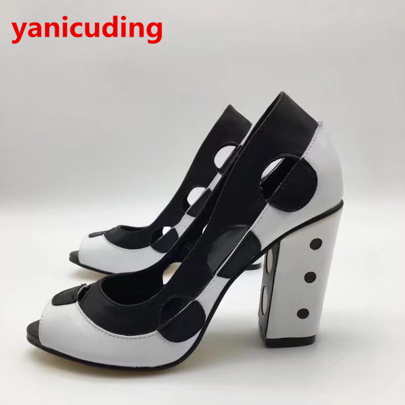 yanicuding Black And White Dotted Decor High Heel Women Slip On Pumps Dress Party Runway Wedding Shoes Peep Toe Sexy Lady Shoes party runway wedding dress shoes women pointed toe sandals sexy high thin heel lady shoes floral decor butterfly knot pumps
