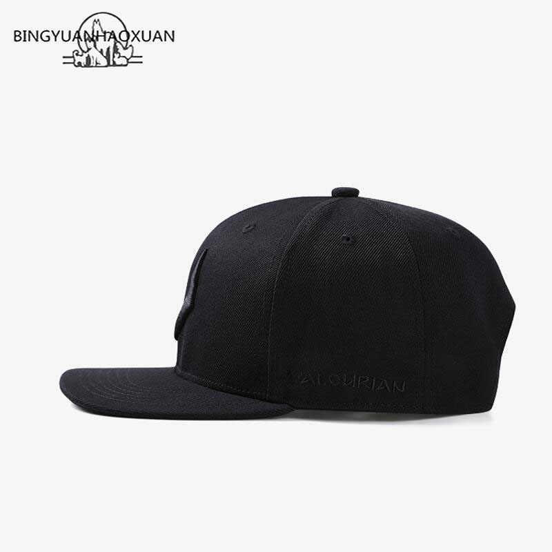 BINGYUANHAOXUAN wysokiej jakości szara wełna Snapback 3D przebity haft Hip Hop czapka płaski rachunek czapka z daszkiem dla dorosłych