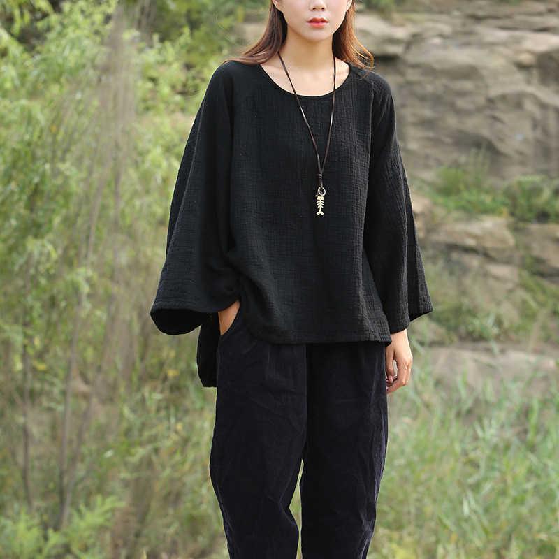 Johnature 女性 Tシャツバットスリーブプラスサイズコットンリネン 2019 秋の新ヴィンテージ女性服暖かい不規則な Tシャツ