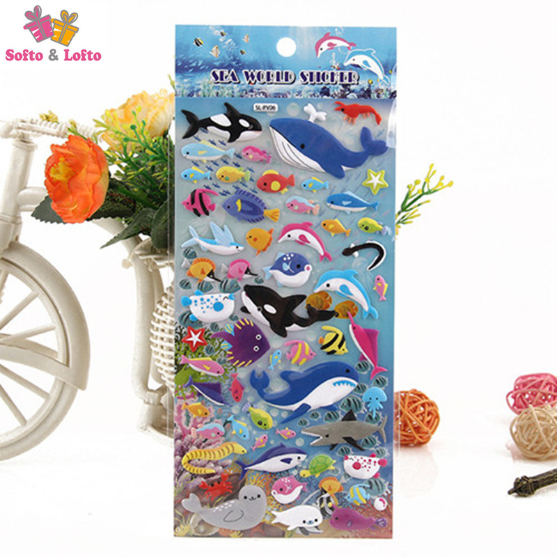 cartoon 2sheets fish sea animals world 3D stickers party supplies decoration kids gifts children toys education