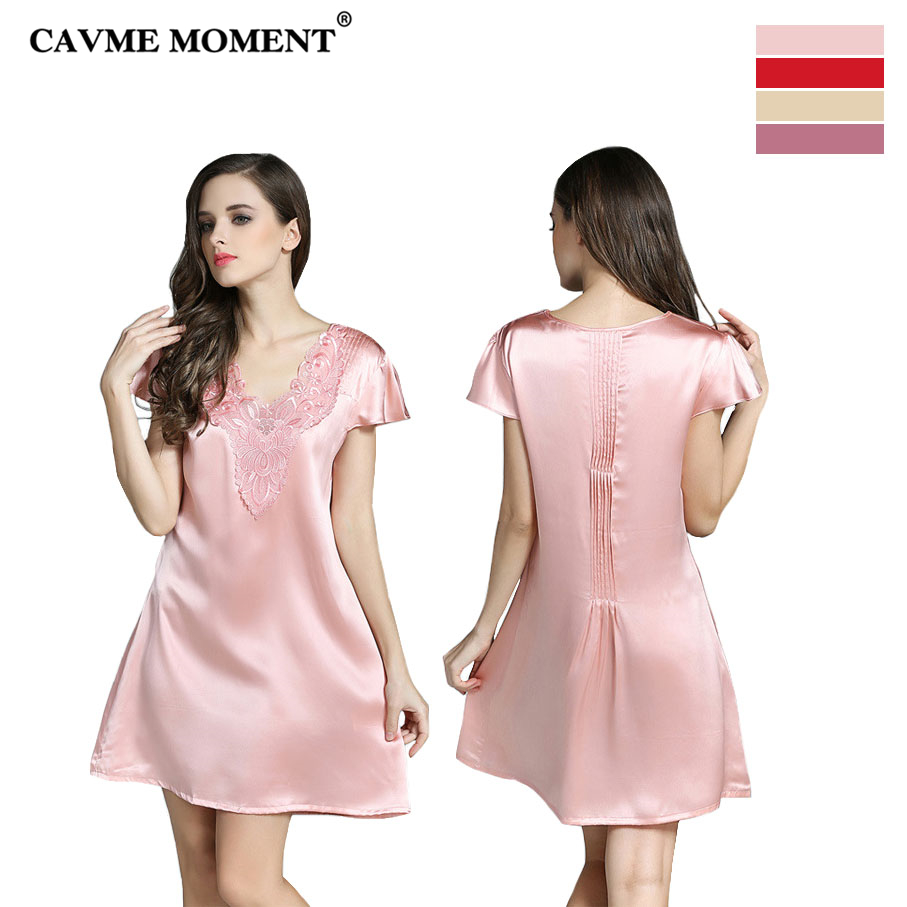 CAVME 2019 Summer Elegant Silk   Nightgowns   Plus Size Lace V-Neck   Sleepshirts   Sexy Sleepwear Luxruy Short Sleeve Nightdressing