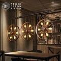 Лофт американский винтажный промышленный кованого железа круглое колесо подвесной светильник для бара столовой