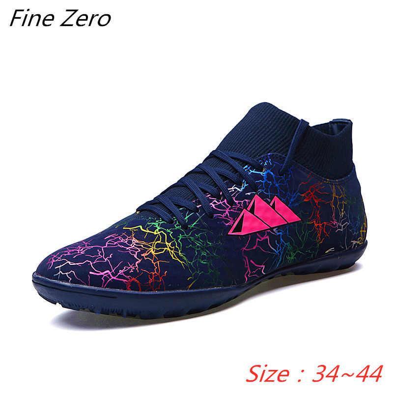 Sıcak satış erkek futbol Cleats yüksek ayak bileği futbol ayakkabısı uzun sivri açık futbol eğitim botları erkekler kadınlar futbol ayakkabı çocuk