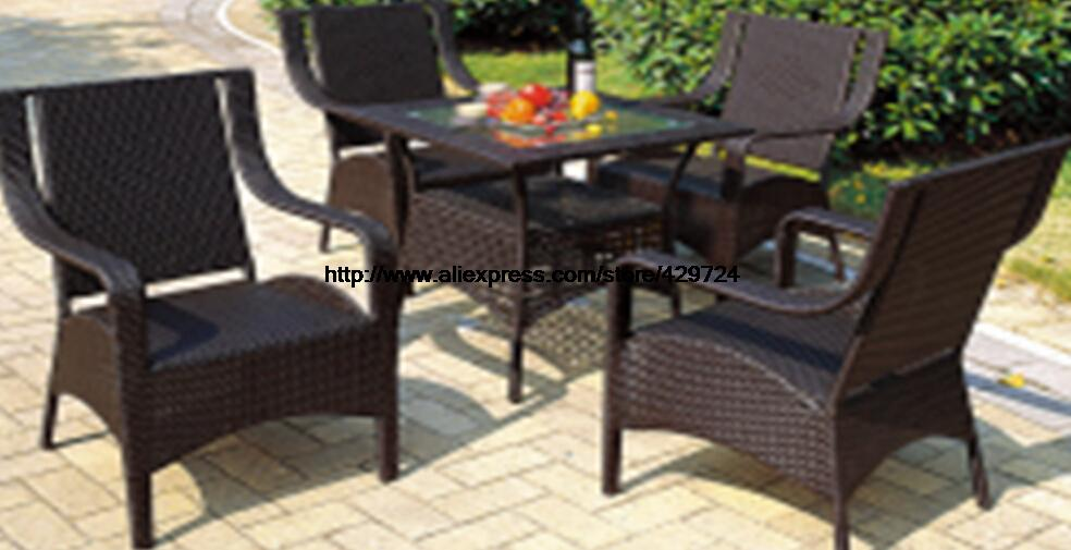 Small Gardern Set 75*75*70 Rattan Table 4 Chairs  Leisure Outdoor balcony Wicket Garden furniture combination leisure chairs Set