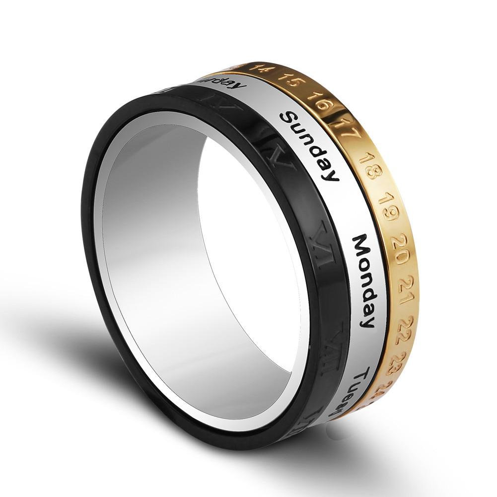 Titanium Steel Tricolor Calendar Time Wedding Ring Mens Fashion