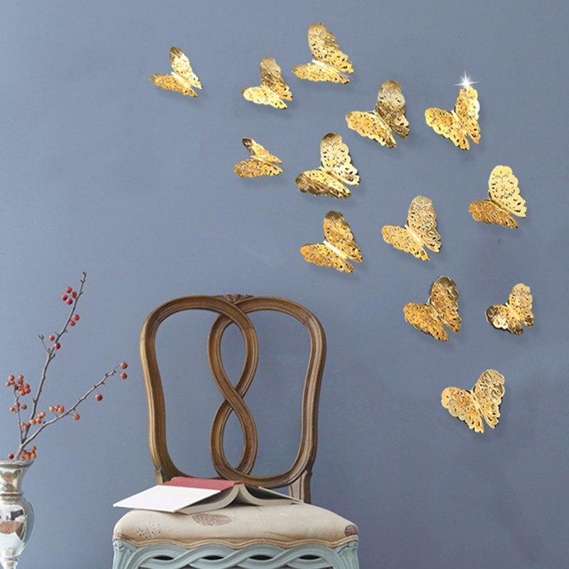 Top 36 Pcs 3D Hollow butterfly wall sticker Gold Paint paper sticking butterfly stickers home wall decoration Cut Out des