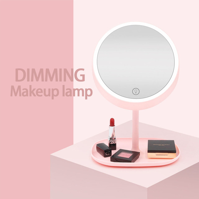 Us 23 4 35 Off Led Desk Lamp Creative Cartoon Cute Pet Makeup Mirror Led Lights With Dressing Mirror Makeup Foundation Lip Gloss Mirror Lamp In