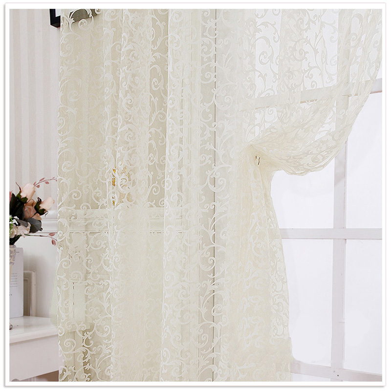 1Pcs Curtains For Living Room Windows Tulle Curtain Lace Cortinas Home Decor Drapes Lace Curtain