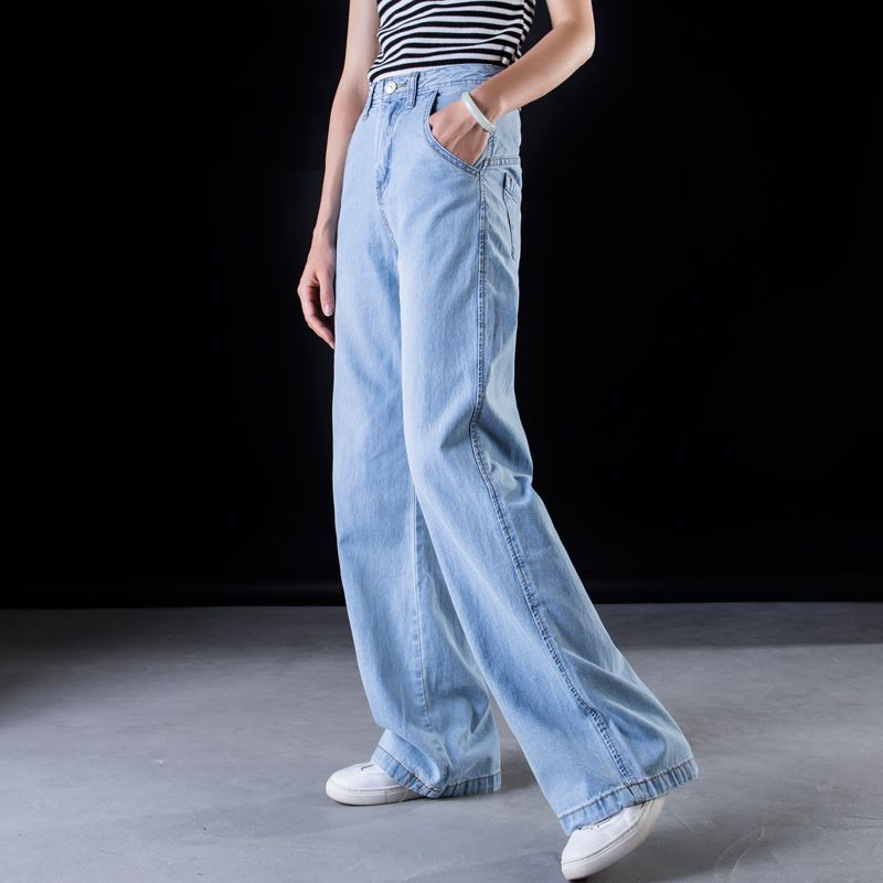 Plus Size Wide Leg Jeans Women Casual Bell Bottom Jeans High Waist Full Length Trousers Boyfriend Baggy Flare Denim Pants C549 Jeans Aliexpress
