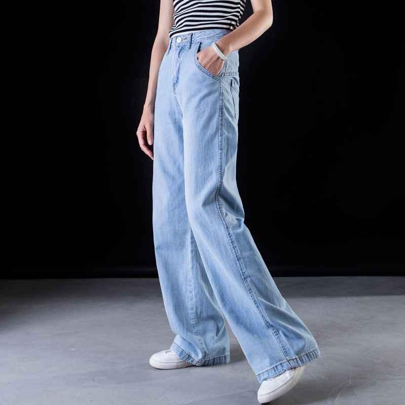 78a37c3e19d ... Plus size Wide leg jeans Women casual Bell Bottom Jeans High waist Full  length trousers Boyfriend ...