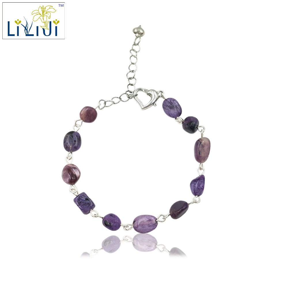Lii Ji Unique Natural Stone Charoite Nugget shape wire handwork Fashion Bracelet Heart shape Clasp Nice Gift for Women ztung gcp7 for kim customer send with packing women bracelet size diameter about 58mm heart shape for women birthday gift