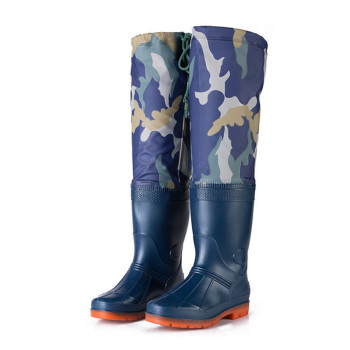 High Fishing Boots 60cm Height Blue Camo Fishing Waders for Fishing Shoes Unisex Multipurpose Rain Shoes Non-Slip Water Shoes