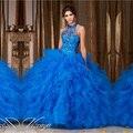Robe De Mariage HS56 Hatler Azul Royal Vestidos Quinceanera Com Jacket As Costas Abertas Princesa Brilhante Borgonha Vestidos Quinceanera