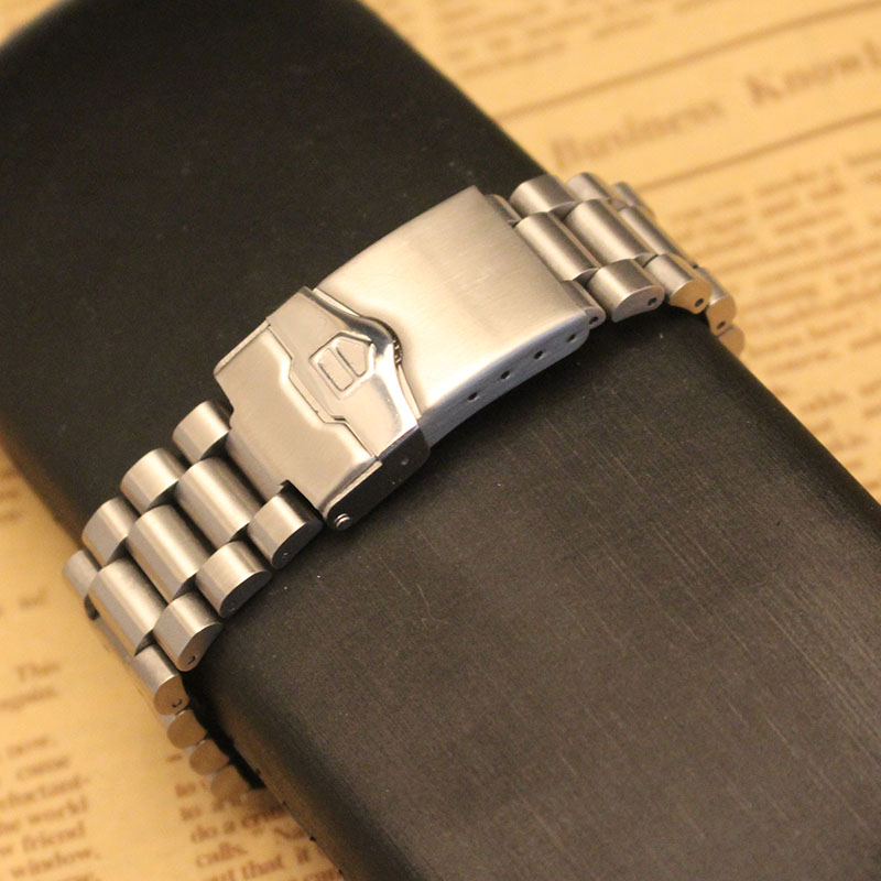 New arrival Stainless steel Watchband Bracelet Straight end Solid Link 20mm for Brand steel watch men