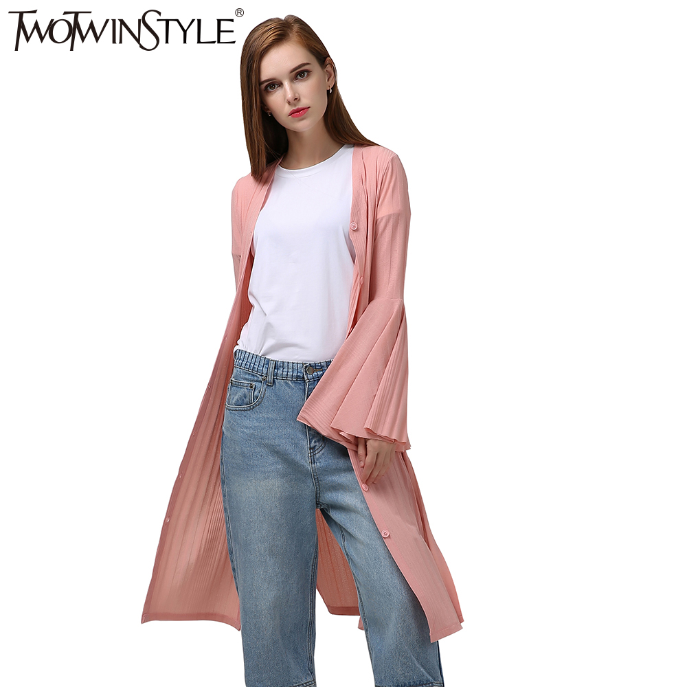 [TWOTWINSTYLE] 2019 Spring Long Flare Sleeve Knitted   Trench   Women Coats New Fashion Clothing