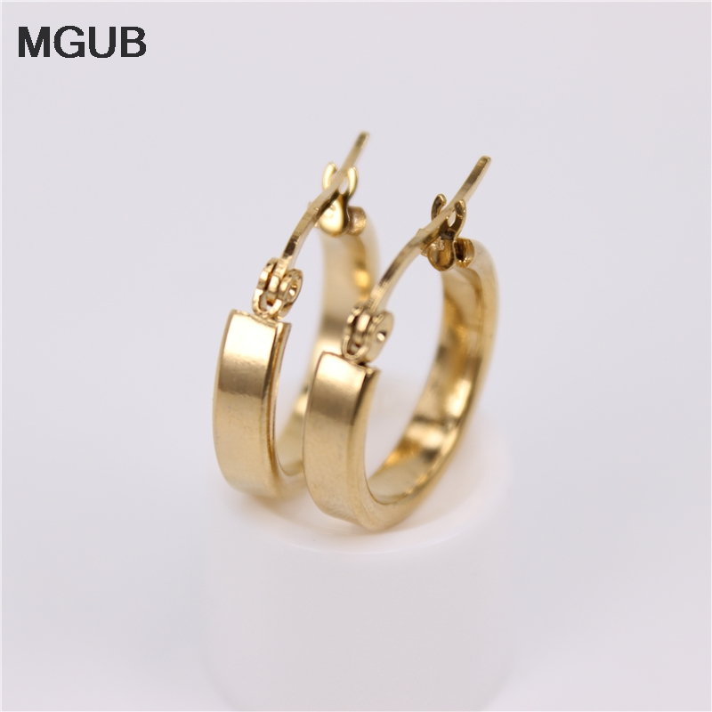 MGUB 17mm Diameter Small Cute Ear Ring Stainless Steel Smooth For Wear  Special Offer Free Shipping HX2