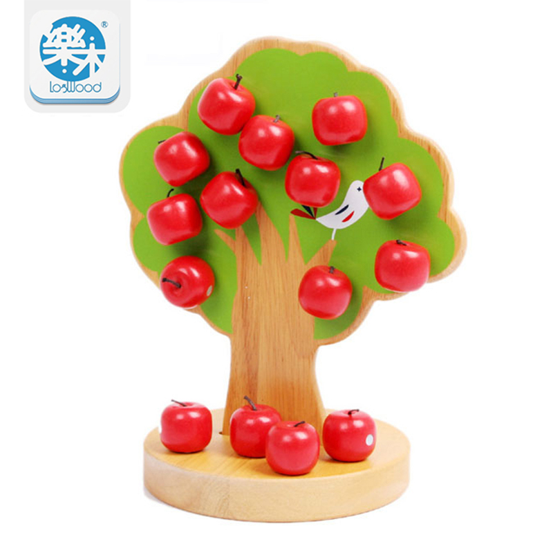Wooden Apple Tree Family Game Play House Kids Educational Montessori Toys Counting Arithmetic Toys oyuncak