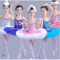 Children Hot Sale Swan Lake Ballet Costume Tutu Ballerina Paillette Decoration Kids Short Feminino Ballet Dance