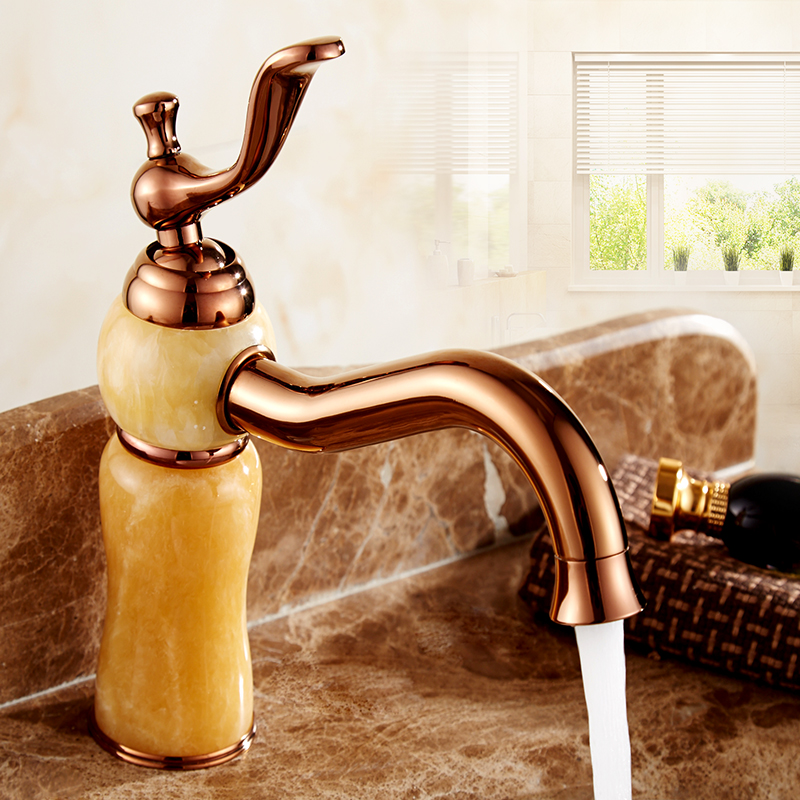 цена на European antique rose gold bathroom sink basin faucet hot and cold, Copper White/Yellow jade marble wash basin faucet Whosale