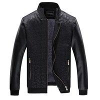 Baseball Jacket Men 2017 Fashion Design Black Pu Leather Sleeve Mens Slim Fit reflective Varsity Jacket Brand windbreaker coat