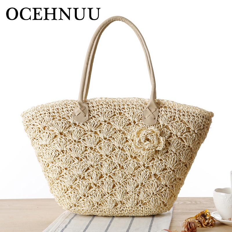 OCEHNUU 2018 Summer Beach Bag Bag Straw Large Zipper Woven Straw Handbags Rastesishme Big Shoulder Qese Femra Lule Zonja Tote Bag