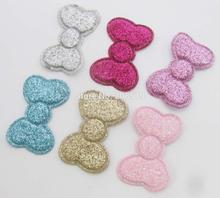 PA0072 sew on Glitter felt patches for clothes 3cm*2cm bowtie shape 120pcs scrapbooking accessories