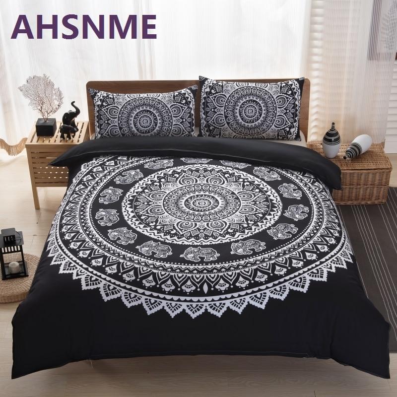 AHSNME 3PCS Black Bohemian Famous Bedding Set Lenjerie de pat de lux - Textile de uz casnic