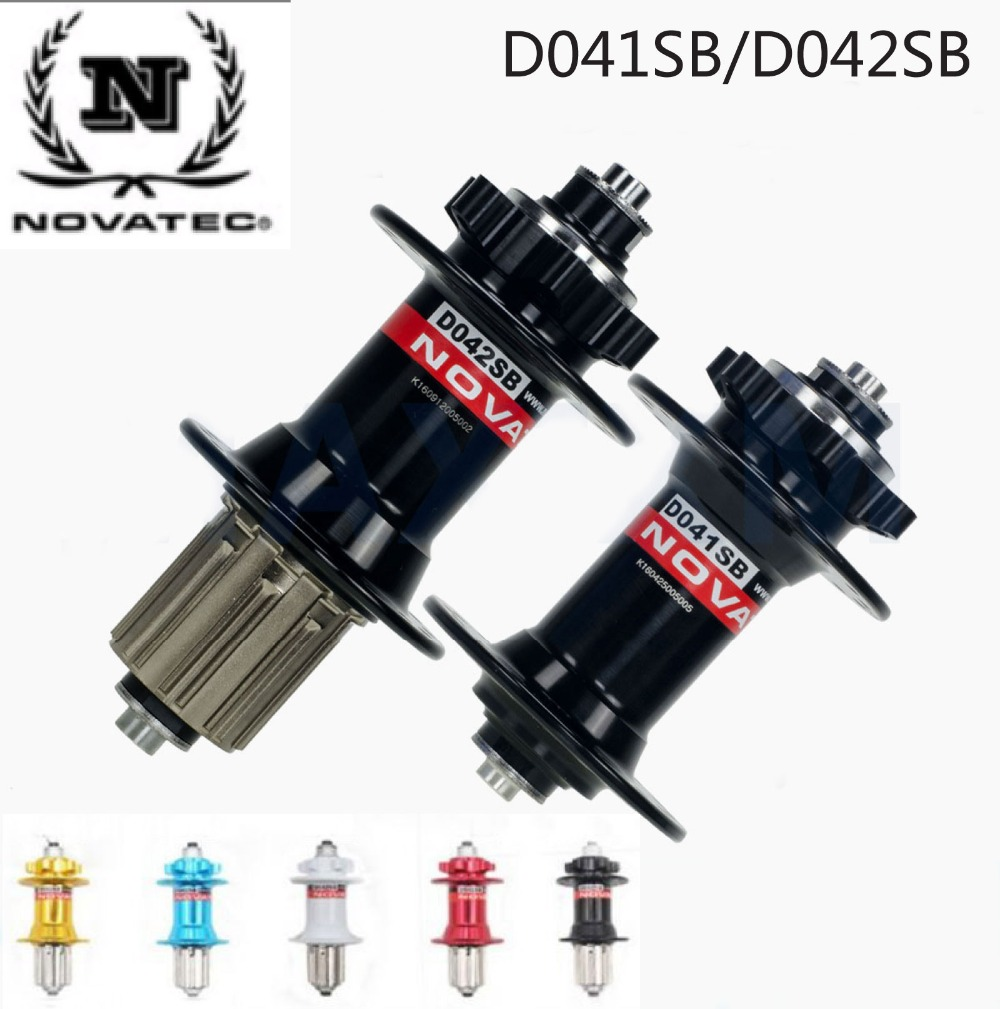Novatec Hub D041SB D042SB MTB Bicycle Hub Front + Rear + quick release set Bike Hubs disc bearing Holes 28 32 36 Original novatec d041sb d042sb disc brake mtb front rear bike hub 4 sealed bearing 28 32 36 holes 28h 32h 36h red black bicycle hubs