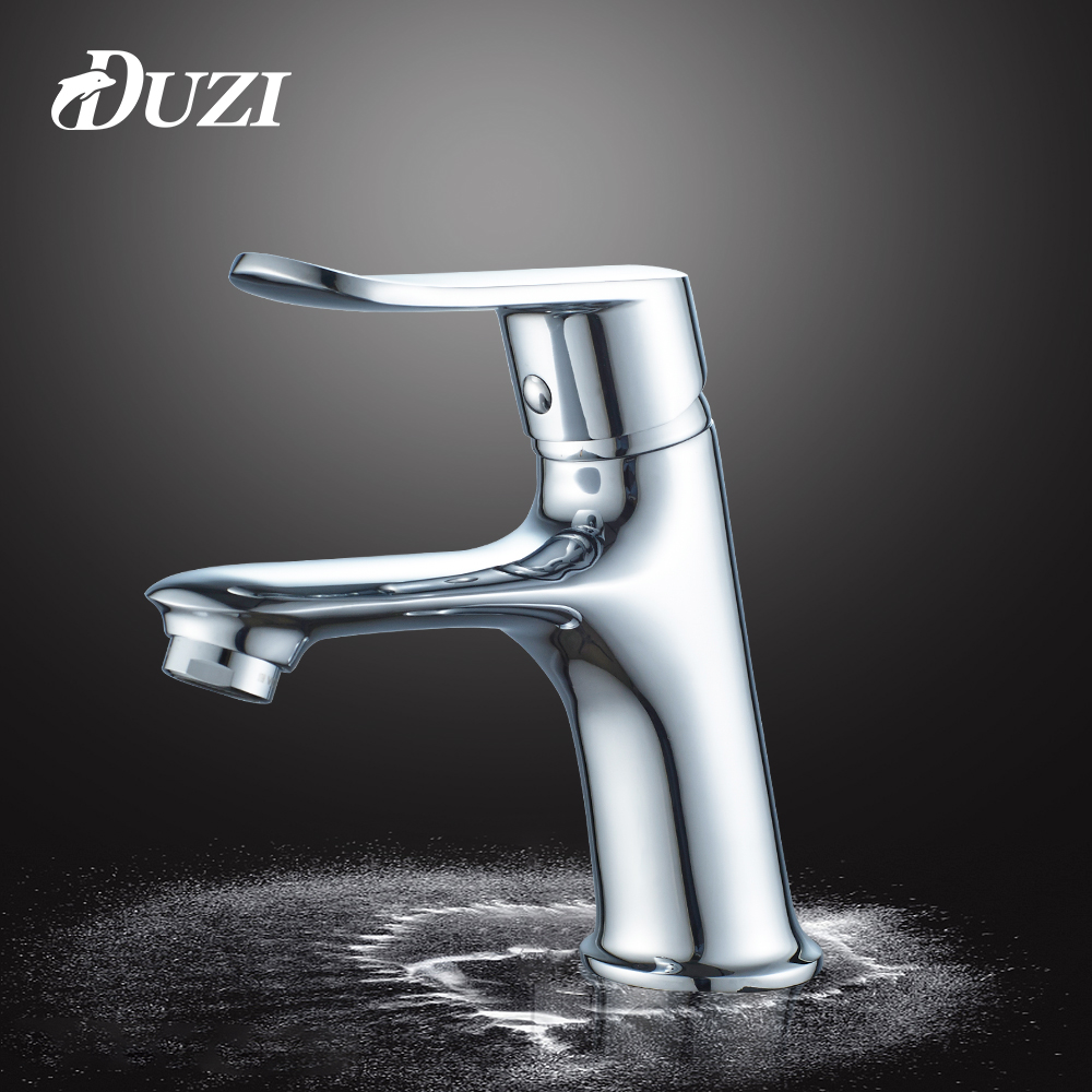 DUZI New Style Basin Faucet Solid Brass Chrome Toilet Basin Tap Deck Mounted Hot and Cold Bathroom Tap Water Mixer Taps D1112 jomoo bathroom basin faucet solid brass chrome deck mounted basin mixer single handle hot and cold water tap bathroom faucet
