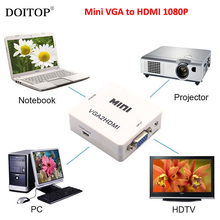 DOITOP Mini VGA to HDMI VGA2 HDMI Converter Digital to Video Audio Adapter HD 1080P For PC Laptop DVD HDTV Projector A3