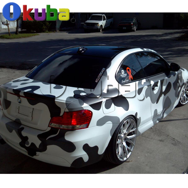 Jumbo Black White Snow Camouflage Vinyl Car Wrap Urban