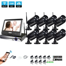 Wireless Surveillance System Network 10.1″ LCD Monitor NVR Recorder Wifi Kit 8CH 720P HD Video Inputs 1.0MP Security Camera